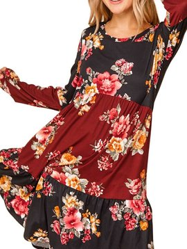 CURVY Floral Tiered Color Block Dress