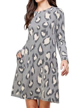 Leopard Cashmere Swing Dress