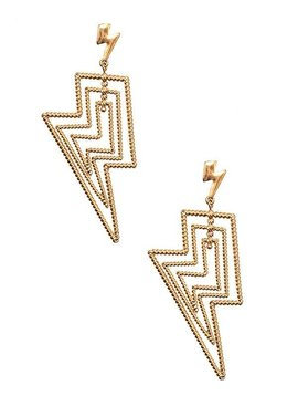 Gold Lightning Drop Earring