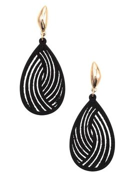 Black Cutout Teardrop Earring