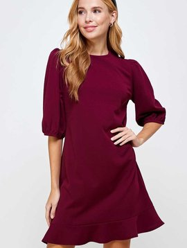 Wine Crepe Puff Sleeve Dress