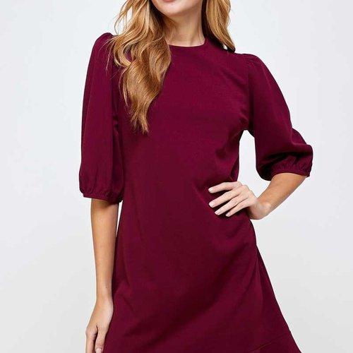 Wine Crepe Puff Sleeve Dress