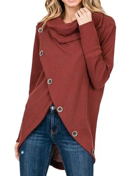 Rust Cowl Button Top