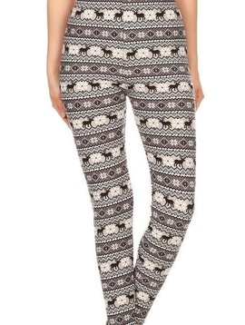 Winter Fair Isle Elastic Band Legging