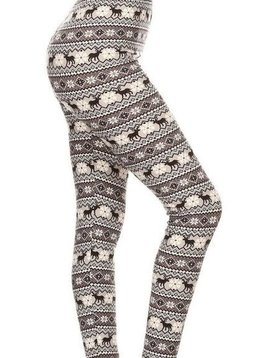 CURVY Winter Fair Isle Elastic Band Legging