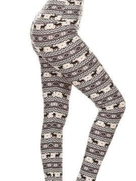 CURVY Winter Fair Isle Yoga Band Legging