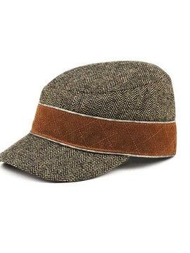 Herringbone Tweed Cadet Style Hat