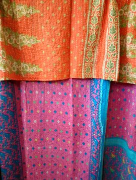 Kantha Sari Throw #406