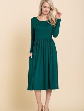Hunter Green Fit & Flare Dress