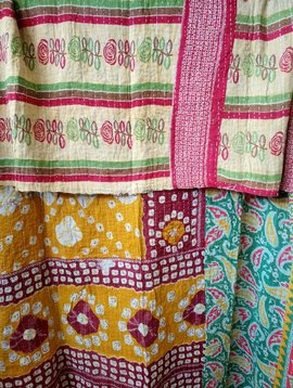 Kantha Sari Throw #429