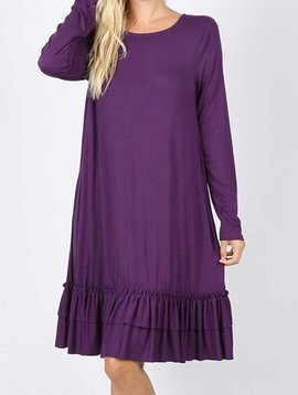 Purple Long Sleeve Ruffle Hem Dress