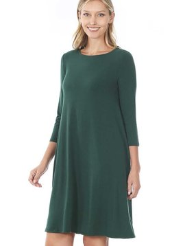 Hunter Green 3/4 Sleeve Dress