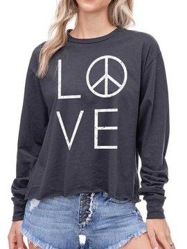 Love & Peace Long Sleeve Crop Top