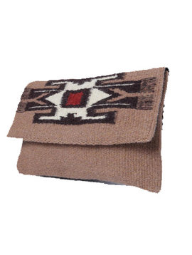 Red & Brown Chimayo Rug Clutch Purse - Wool Bag with Black Lining