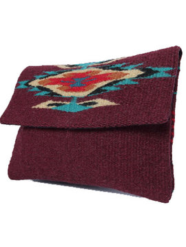 Maroon Chimayo Rug Clutch Purse - Wool Bag with Black Lining