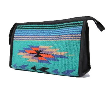 Teal Southwest Bag with Zipper and Lining for Organizing