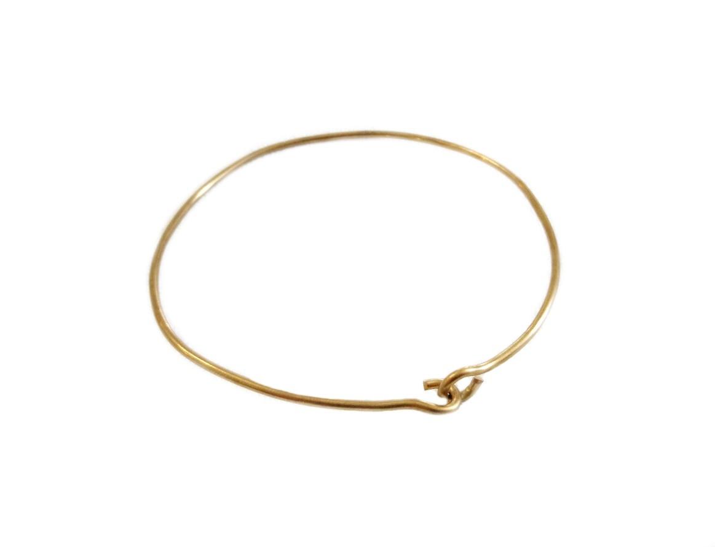 Brass Wire Bangle Charm Bracelet