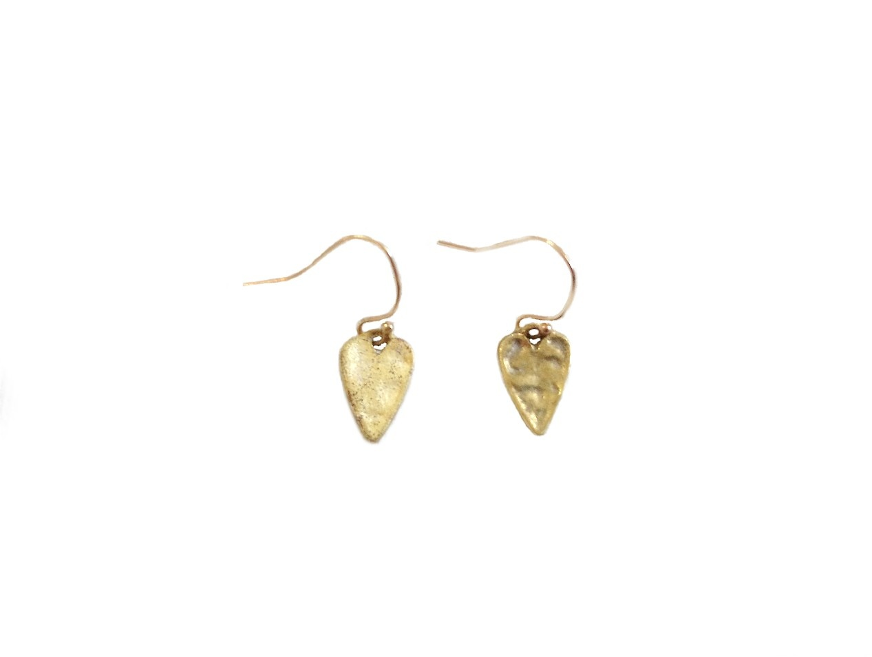 Gold Stamped Heart Earring