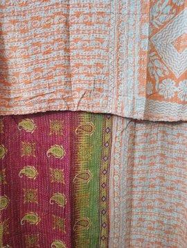 Kantha Sari Throw Blanket #437