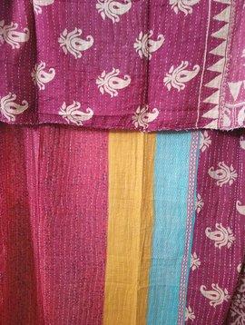 Kantha Sari Throw Blanket #436