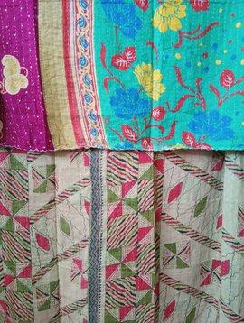 Kantha Sari Throw Blanket #438