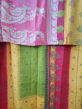 Kantha Sari Throw Blanket #442