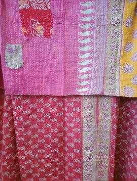 Kantha Sari Throw Blanket #441