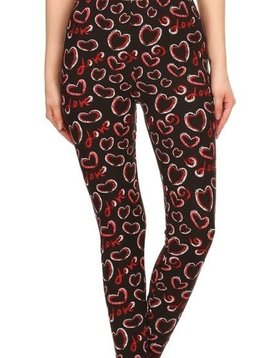 Valentine Hearts Elastic Band Leggings