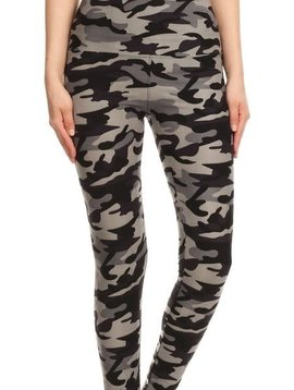 Gray Camo Yoga Band Leggings