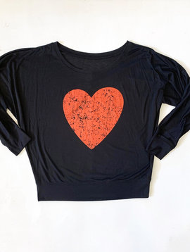 Distressed Heart  Long Sleeve Top