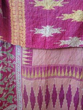 Kantha Sari Throw Blanket #463
