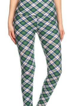 Green Plaid Yoga Legging