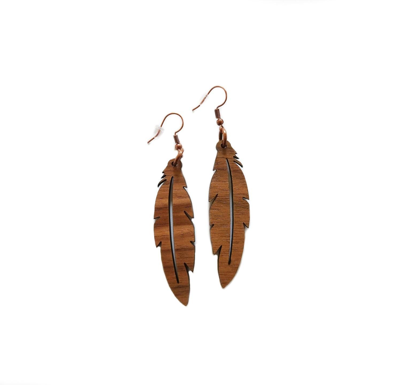 Wood Feather Drop Earrings