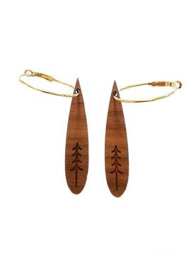 Wood Teardrop Tree Earring