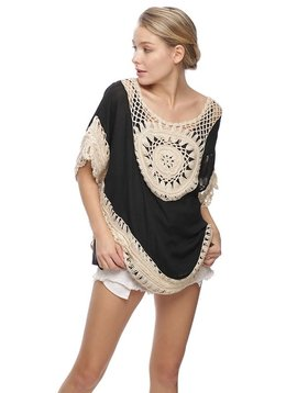 Black Champagne Crocheted Top