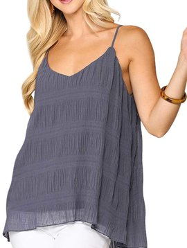 Blue Steel Pleated Cami Top