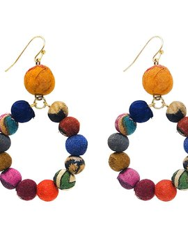 Kantha Dangling Hoop Earrings