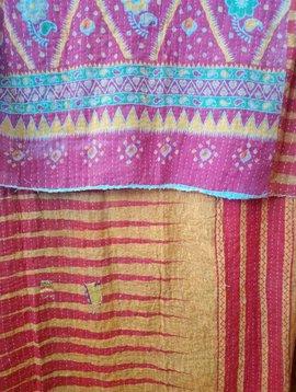 Kantha Sari Throw Blanket #520