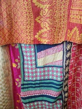 Kantha Sari Throw Blanket #507