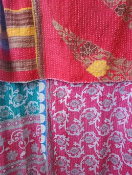 Kantha Sari Throw Blanket #519