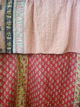 Kantha Sari Throw Blanket #508