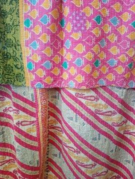 Kantha Sari Throw Blanket #505