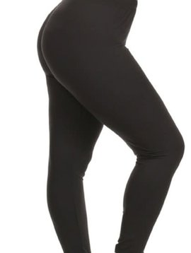 CURVY Solid Black Elastic Band Legging