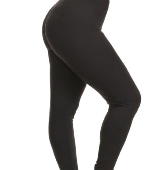 CURVY Solid Black Elastic Band Legging