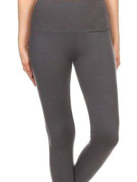 Solid Charcoal Gray Yoga Band Legging