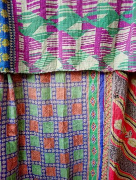 Kantha Sari Throw Blanket #532