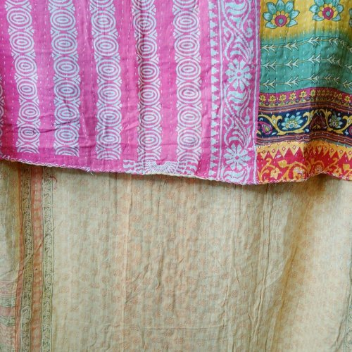 Kantha Sari Throw Blanket #543