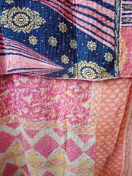 Kantha Sari Throw Blanket #535