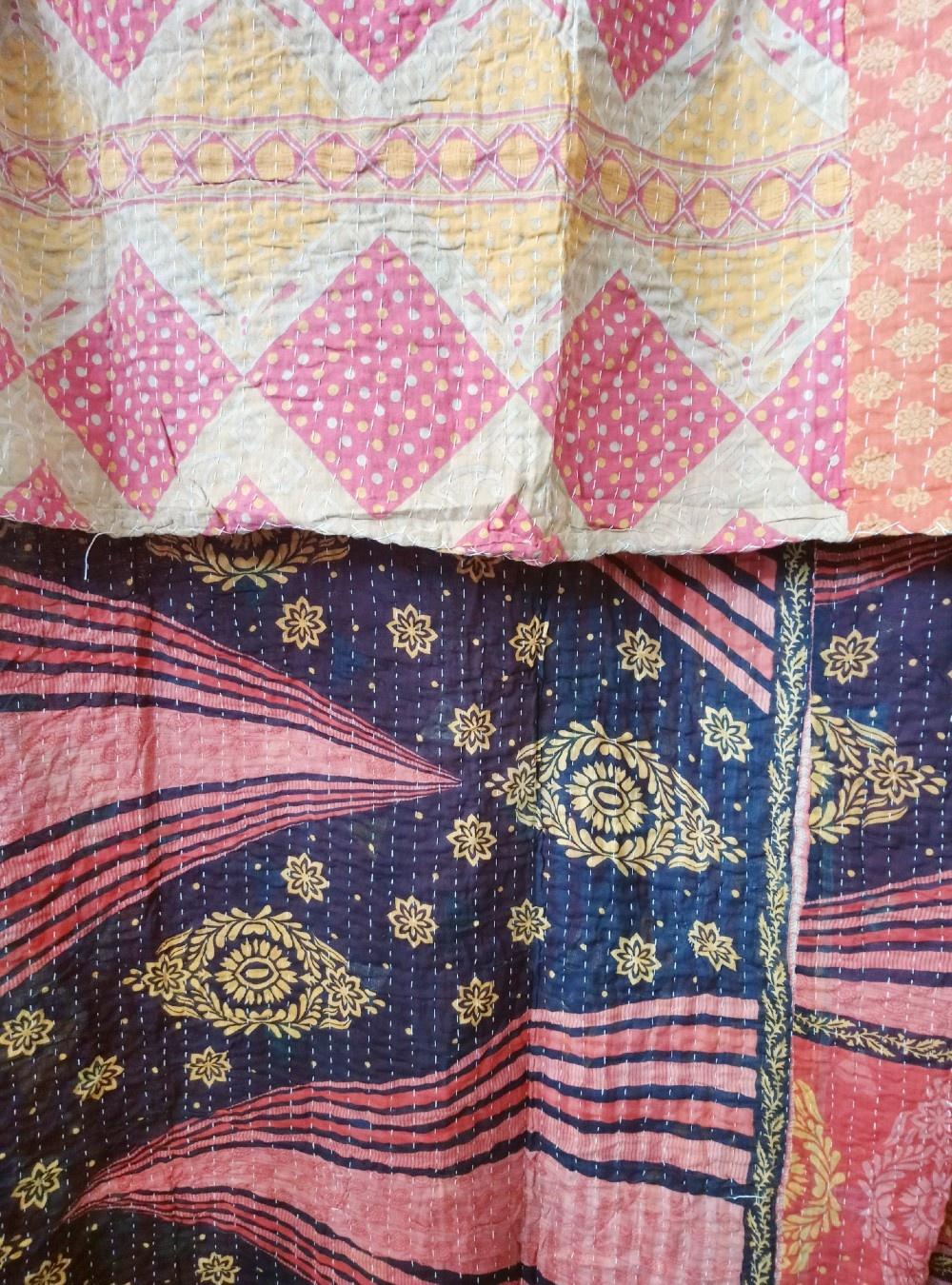 Kantha Sari Throw Blanket #535