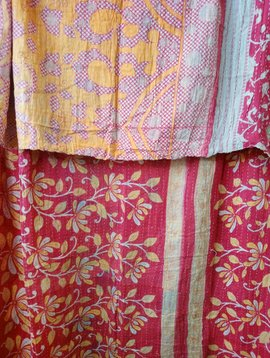 Kantha Sari Throw Blanket #536
